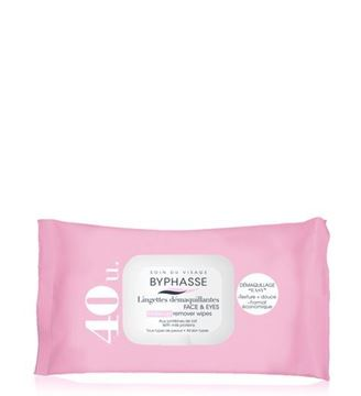 Picture of Byphasse Make-up Remover Wipes Milk Proteins 40wipes.
