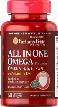 Picture of Puritan's Pride All In One Omega 3, 5, 6, 7 & 9 with Vitamin D3