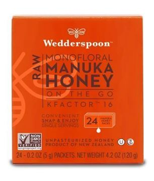 Picture of Wedderspoon Raw Monofloral Manuka Honey KFactor 16, 24 Packs