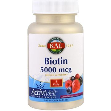 Picture of Kal Biotin 5000mcg 100 Micro Tablets