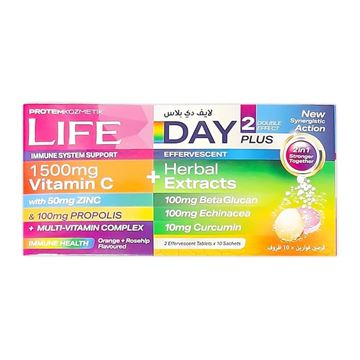 Picture of LIFE VIT-C 1500MG DAY PLUS 2 EFF.TAB X 10 SACHETS