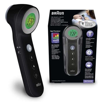Picture of BRAUN NO TOUCH+TOUCH THERMOMETER-BNT400 BLACK